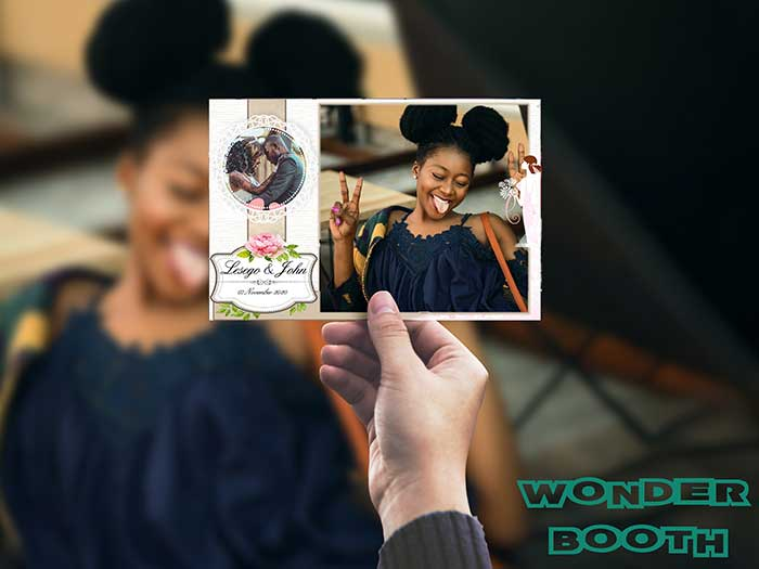 Our VIP and Themed wedding photo booth hire packages feature custom-designed templates.