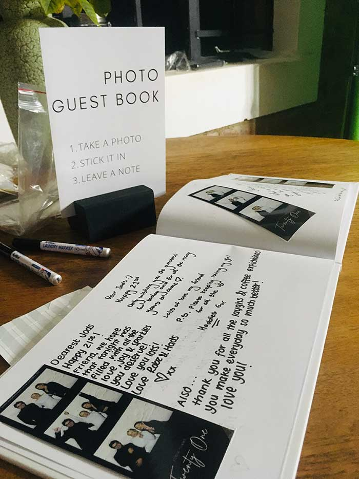 Customized wedding guestbook for photo booth strips